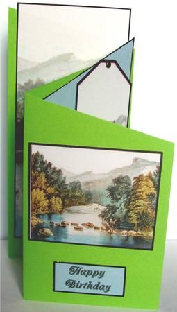 River Crossing on Craftsuprint created by Liz Chapman - Printed unto medium weight card . Used green card from stock, and cut diagonally and used d/s tape onto the cascade shaped card. Used one of the printed sentiments on the front.Secured the gift tab/bookmark with a brown bard