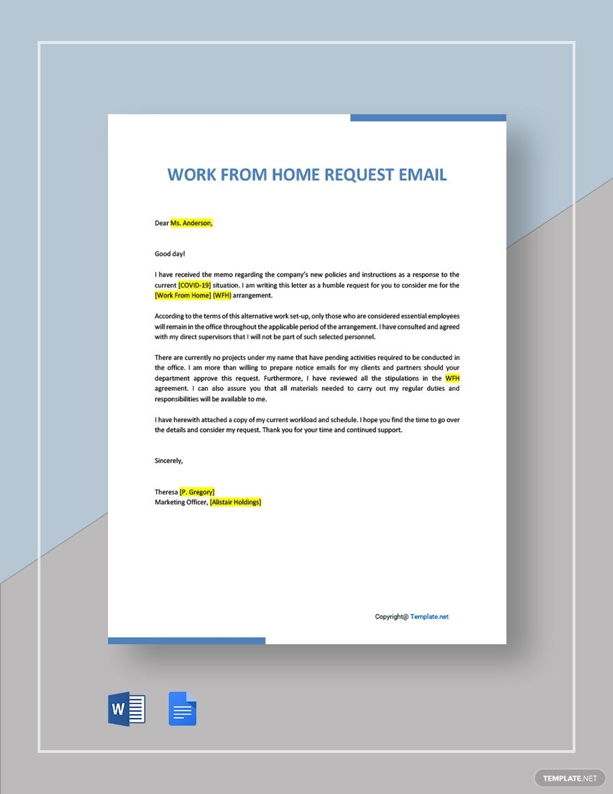 Work From Home Request Email- Word   Google Docs in 2020 ...