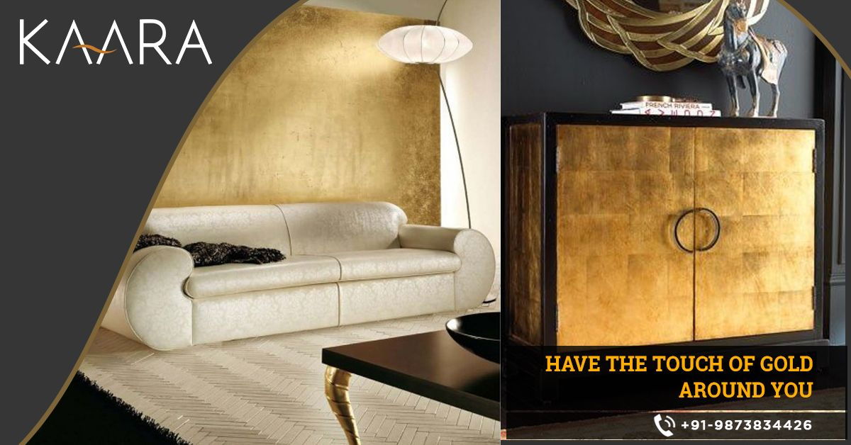 Get KAARA's Gold Leaf and give your interiors a golden appeal that silently reflects your class and lifestyle. To buy, call us at +91-9873834426 OR mail us your details at contact@kaaradecor.com #GoldLeafing #Swatches #goldartwork #interiordesigner #Homedecor #Decoration #Kaara #Kaaradecor