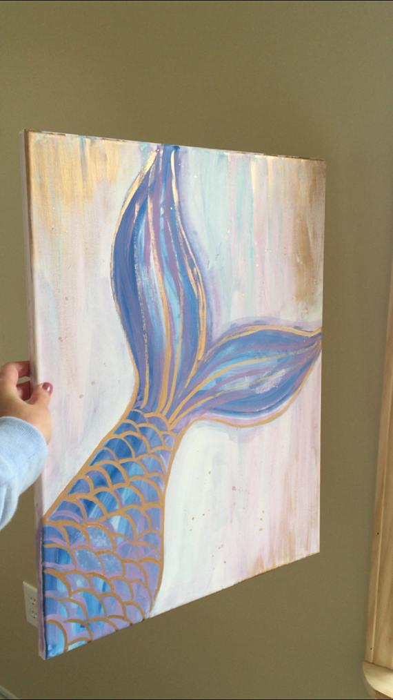 Mermaid Canvas Etsy Easy Canvas Painting Art Painting Canvas Painting Diy