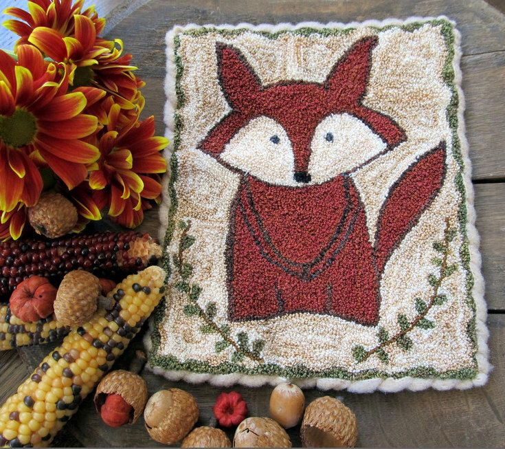 The Curious Fox Primitive Punch Needle PDF Instant Download Pattern by TeresaTudorDesigns on Etsy https://www.etsy.com/listing/251402823/the-curious-fox-primitive-punch-needle
