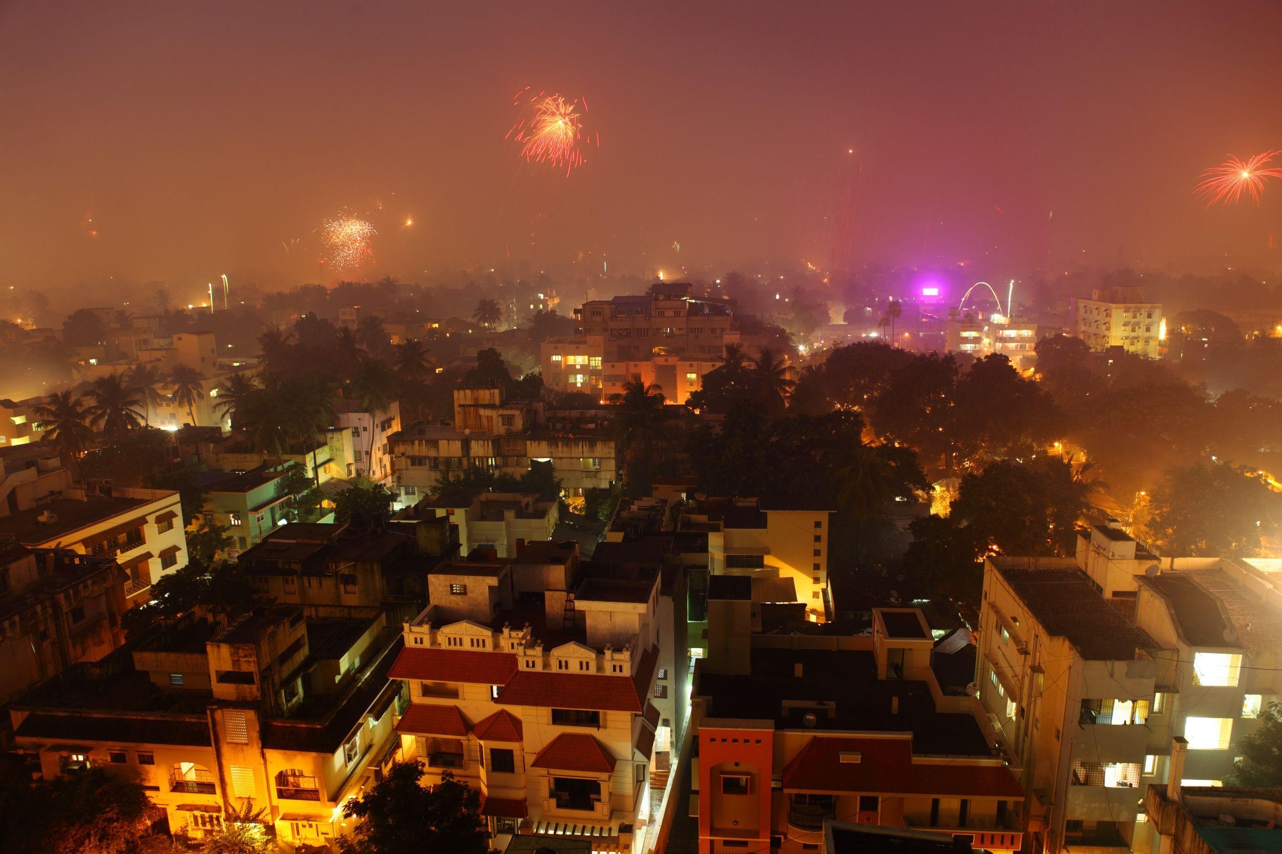 fireworks over Chennai-city-on-Diwali-night-India