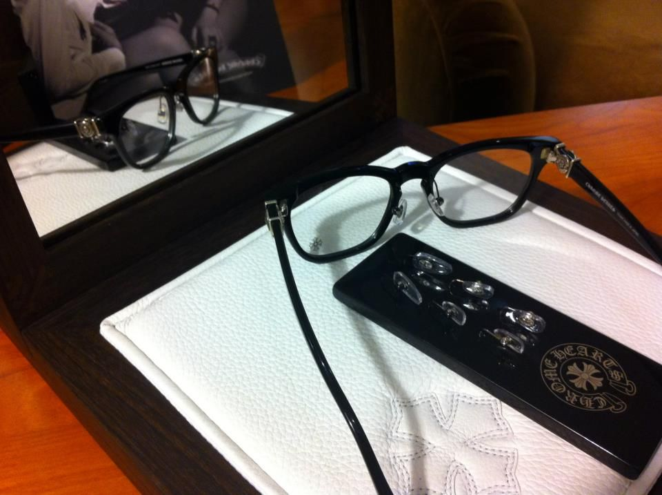 Awesome new specs from Chrome Hearts. Nose pads will able to added to their acetate frames, three pad styles will be available. — in Las Vegas, NV.