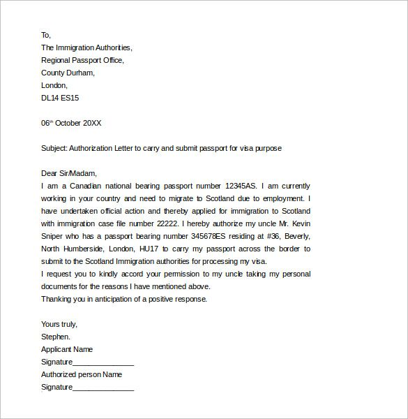 passport authorization letter templates samples examples sample - letter of immigration