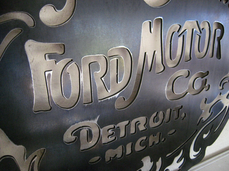 Design elements plasma cutting custom design plasma cutting artistic - Original Ford Motor Co Logo Steel Sign Garage Art Nouveau Style Handmade Custom Metal Art Plasma Cut