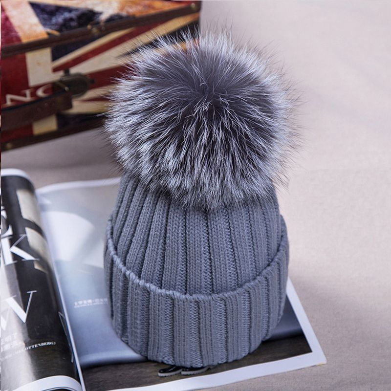 72e9c99240954b Beanies · Fox Fur Ball Cap pom poms Winter Hat for Boina Women girl 's Fashion  Hat