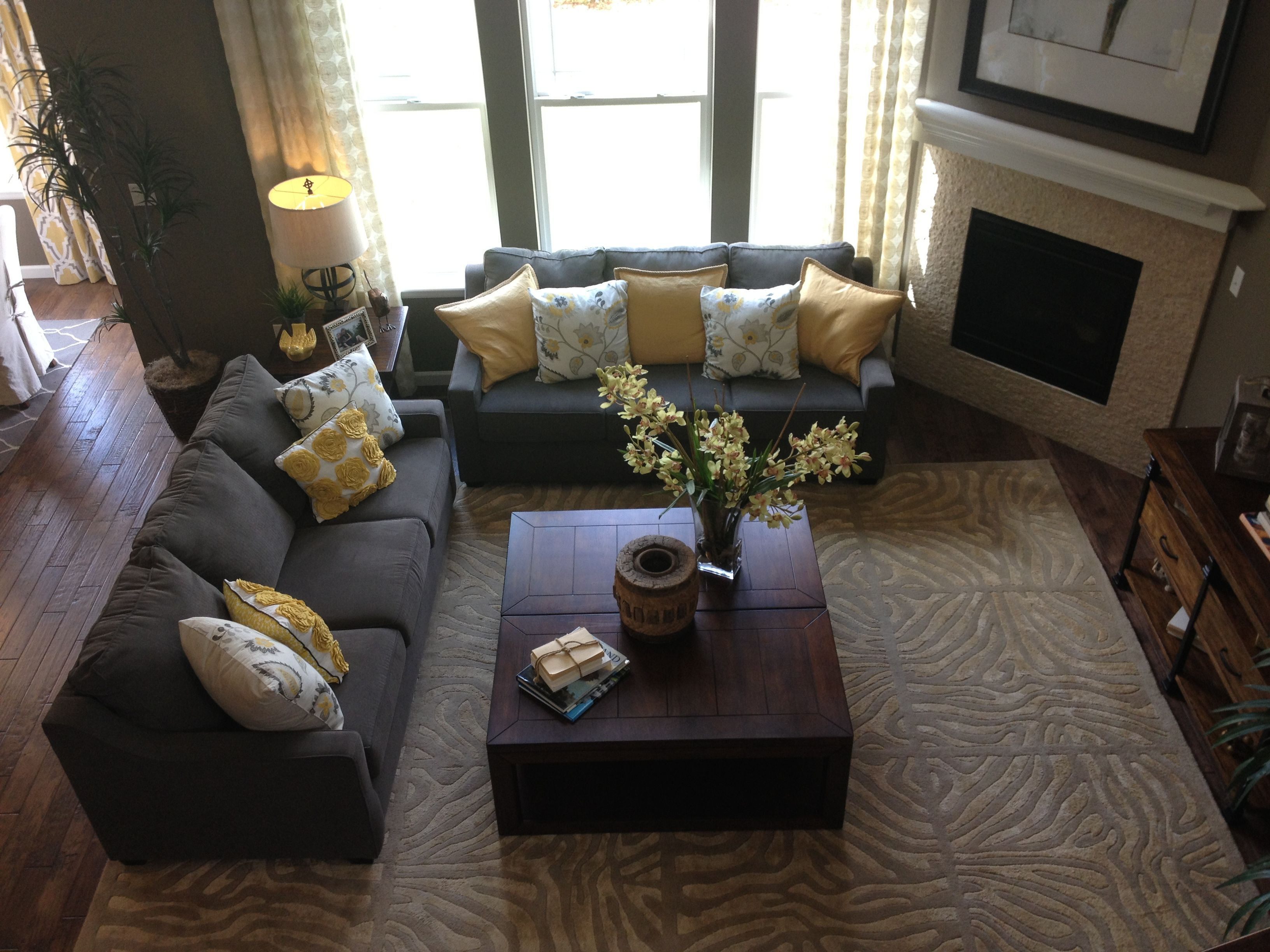 Gray And Yellow Living Room, Fireplace Doesn't Obstruct