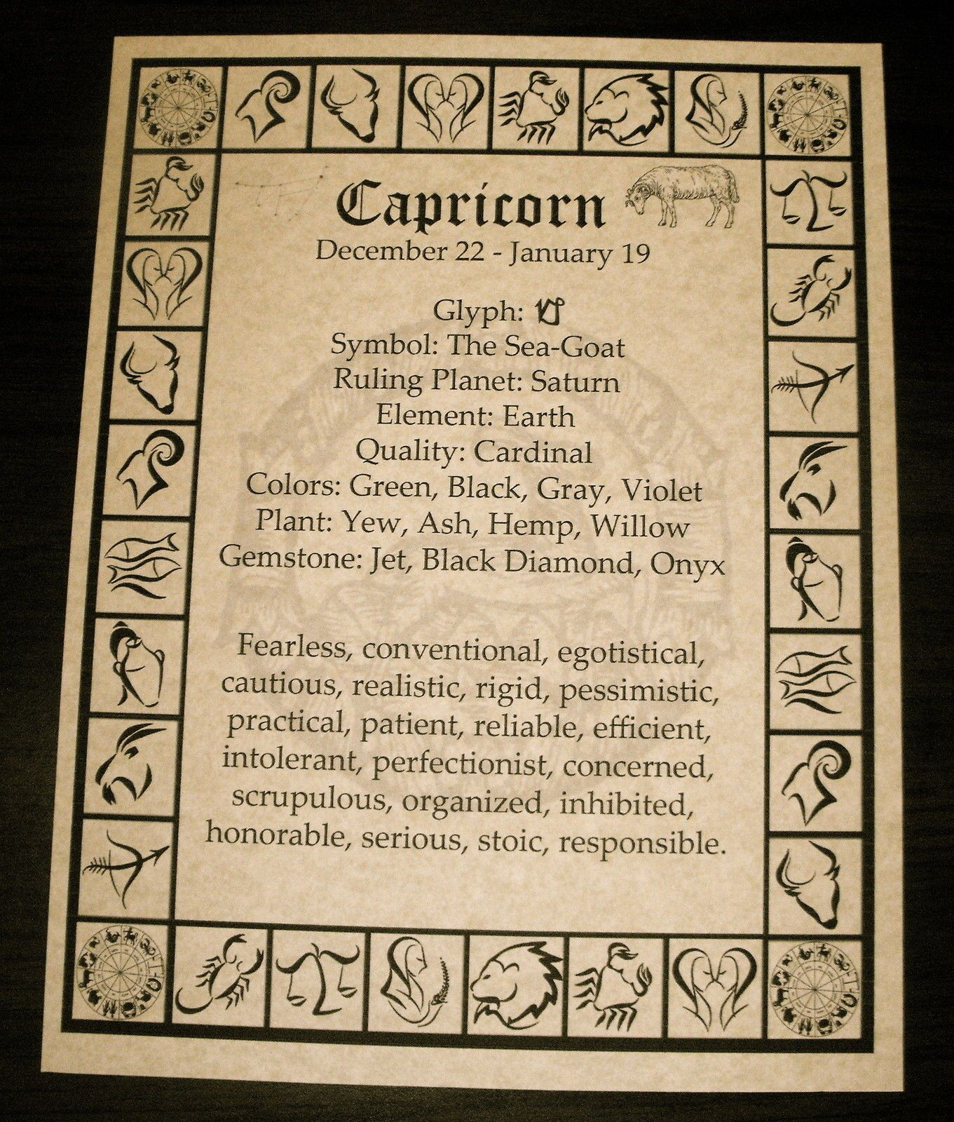 Capricorn Book of Shadows Zodiac Page Wicca Witchcraft Pagan Wiccan  Horoscope  e56d47210ed46