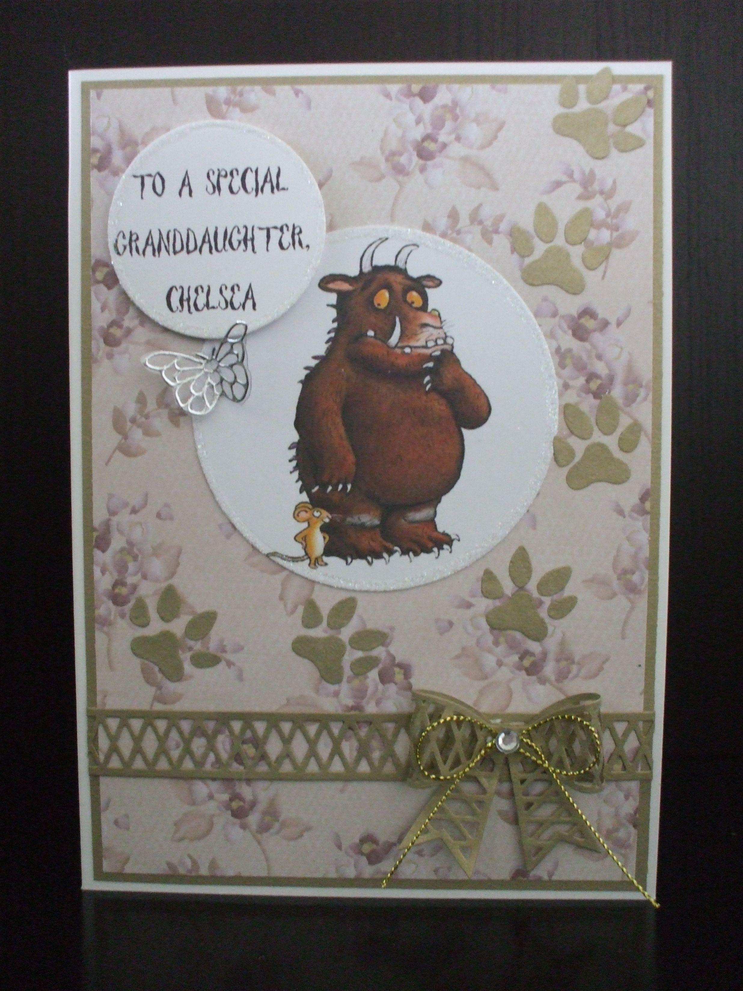 Handmade Gruffalo 1st Birthday Granddaughter Kids Cards Punch Cards Pretty Cards