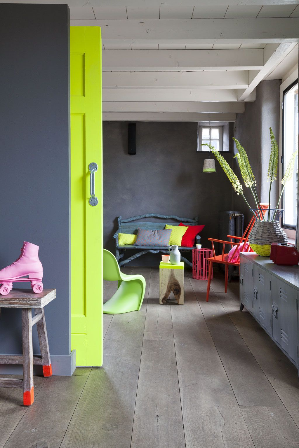 Neon furniture neon bedroom bright ideas yellow doors sliding