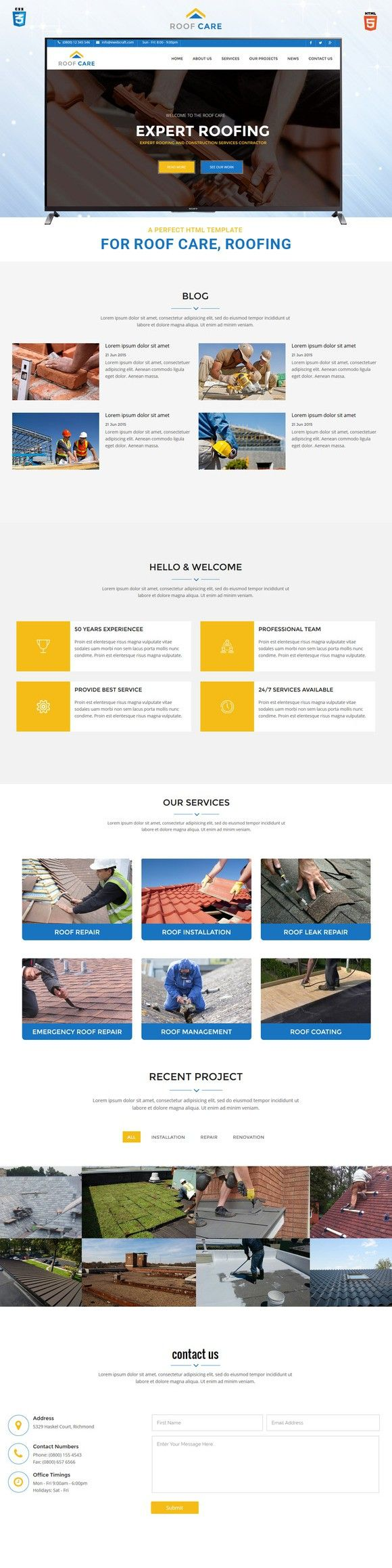 roofcare html template for roofing landing pages templates 1900
