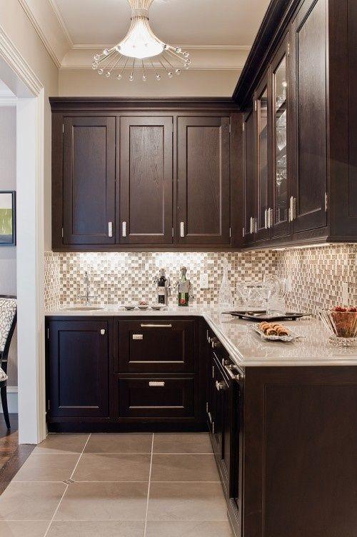 Espresso Cabinets, Neutral Glass Square Back Splash, Tile Flooring, Satin  Nickle Hardware And