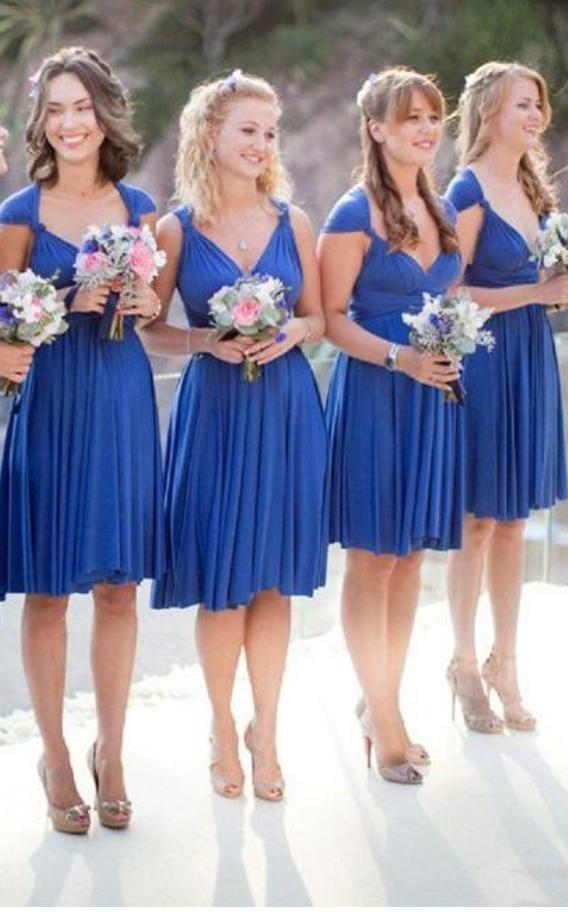 e5b72ee891 Cheap Short Bridesmaid Dresses Knee Length Junior Chiffon Wedding Guest Gowns  Cap Sleeves Plus Size Bridesmaids