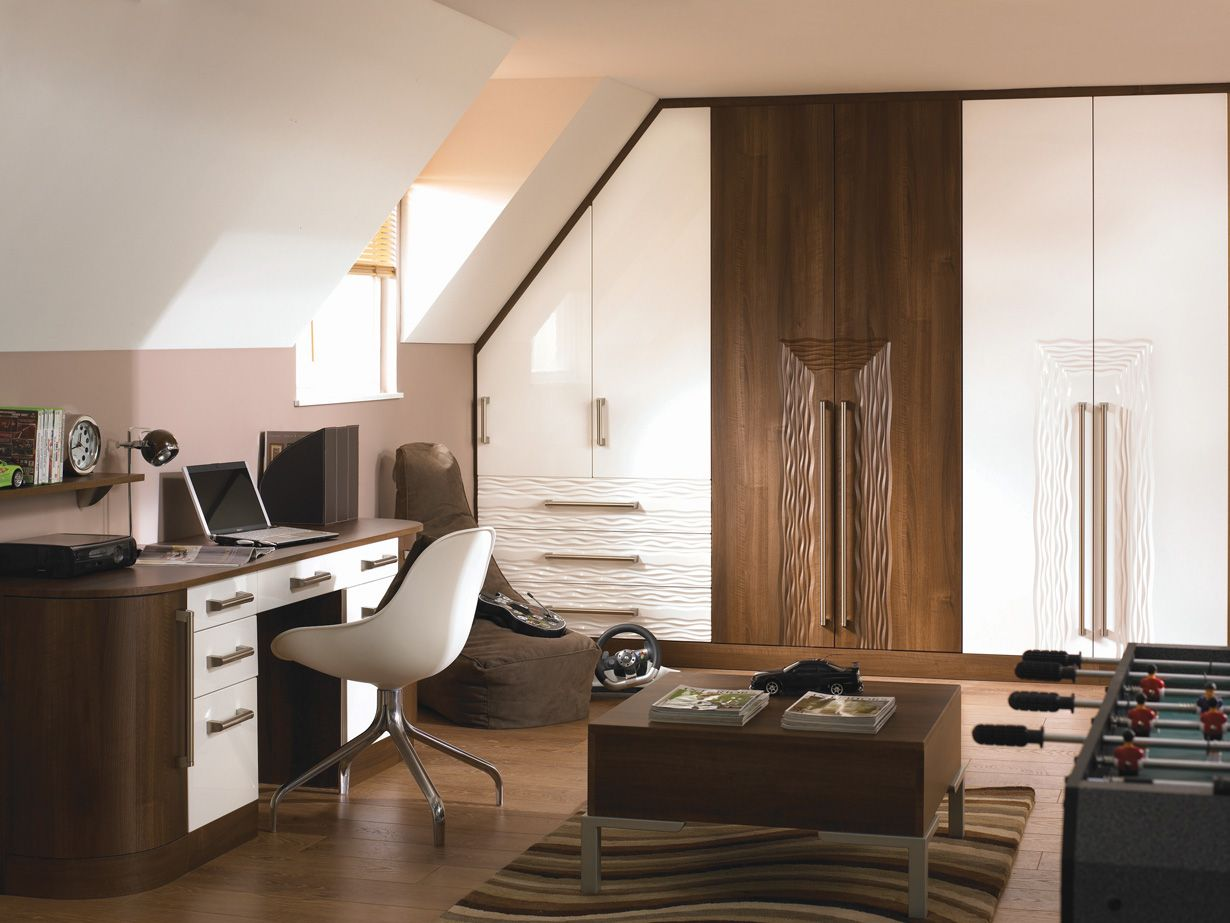 white gloss and walnut bedroom furniture Google Search