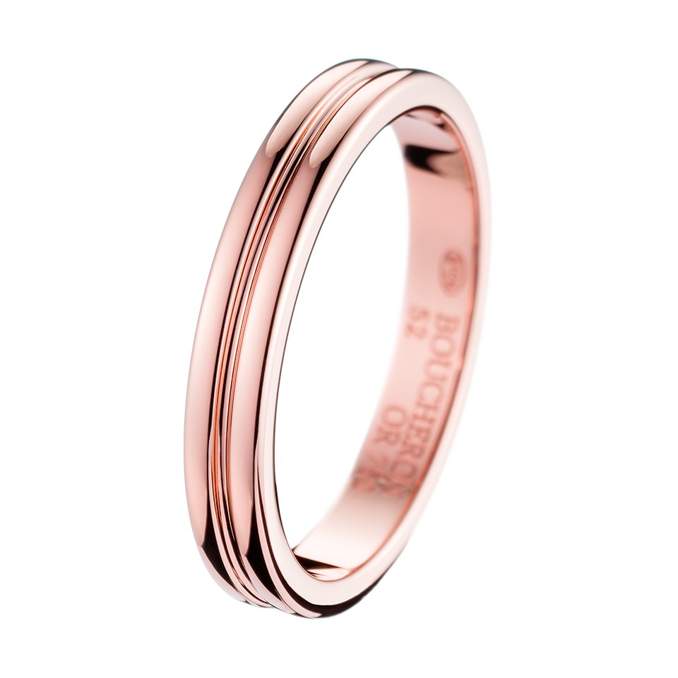 Boucheron Creation Ron Pink Gold Small Wedding Band In 750