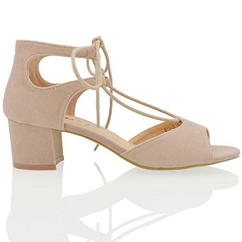 1319056834b Essex Glam Womens Block Low Heel Lace Up Strappy Beige Faux Suede Peep Toe  Sandals Shoes 9 BM US     You can get more details by clicking on the image.