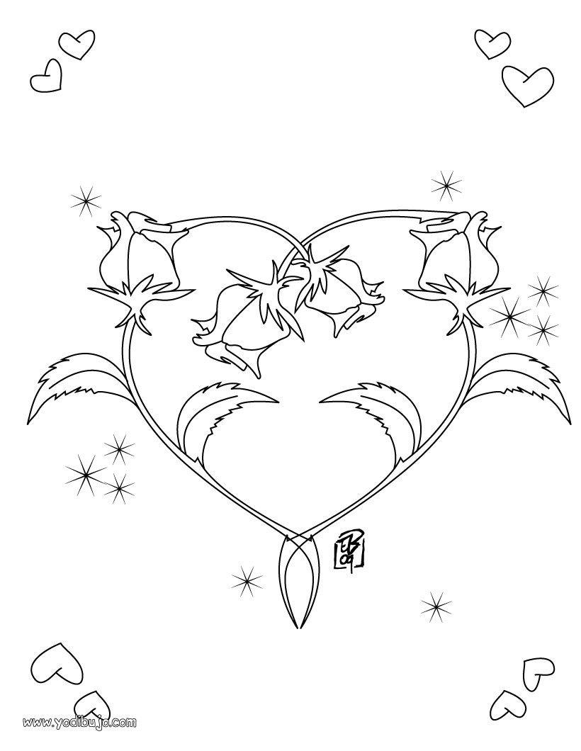 Mi amor coloring pages ~ dibujo-san-valentin-pintar- corazon   LOVE mi amor ...