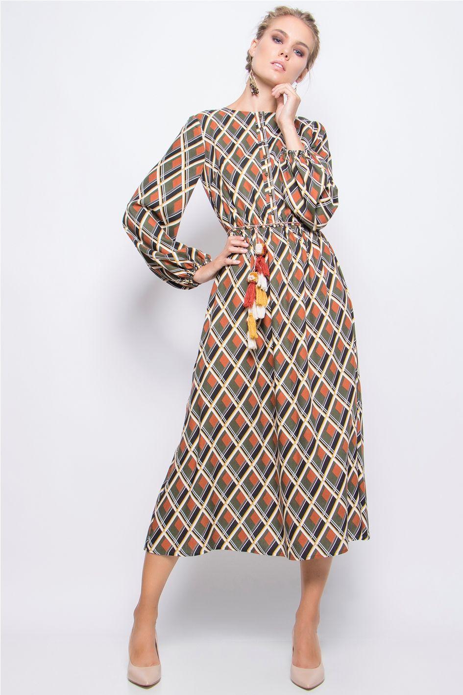 2f2d1c61dd96 Φόρεμα Maxi Εμπριμέ  λαιμόκοψη Μακρύ μανίκι μήκος έως την γάμπα ίσια γραμμή  Υπέροχη Μαλακή Υφη