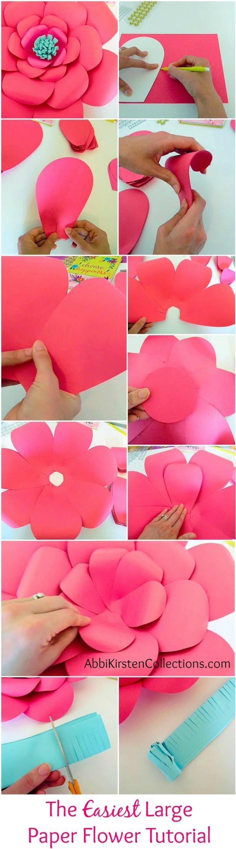 How to Make Large Paper Flowers: Easy DIY Giant Paper Flower #easypaperflowers How to Make Large Paper Flowers: Easy DIY Giant Paper Flower #giantpaperflowers