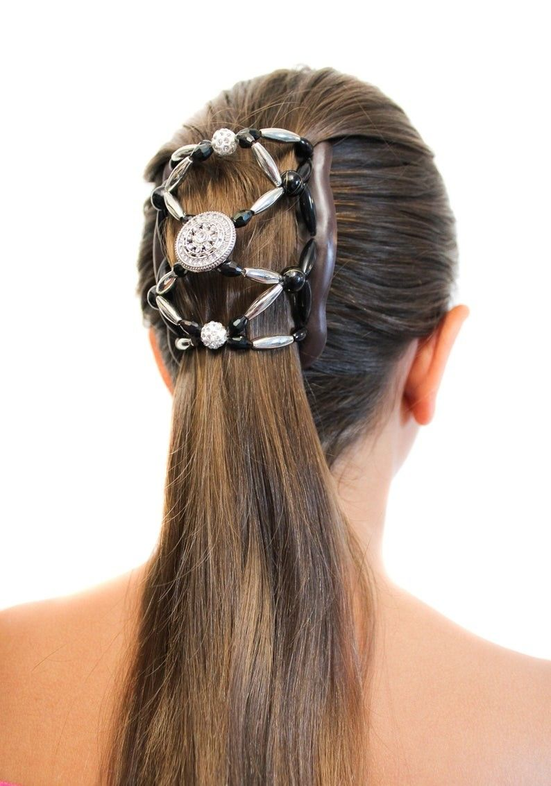 Fancy Combs Premium Beaded Stretchy Double Hair Comb Clip Bun Maker Ponytail French Twist Holder Secure Hold All Day In 2020 French Twist Beaded Hair Clips Hair Comb Clips