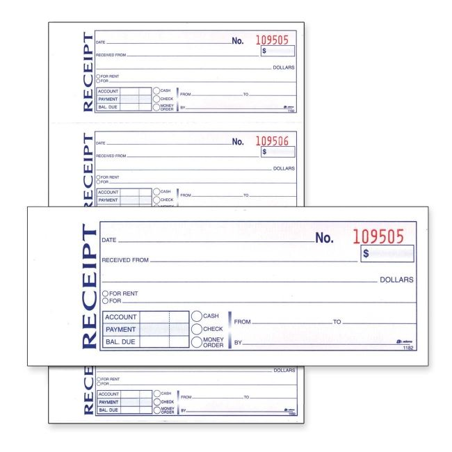 rent receipts pics Adams Money Rent Receipt Book White Pic1 - money receipts