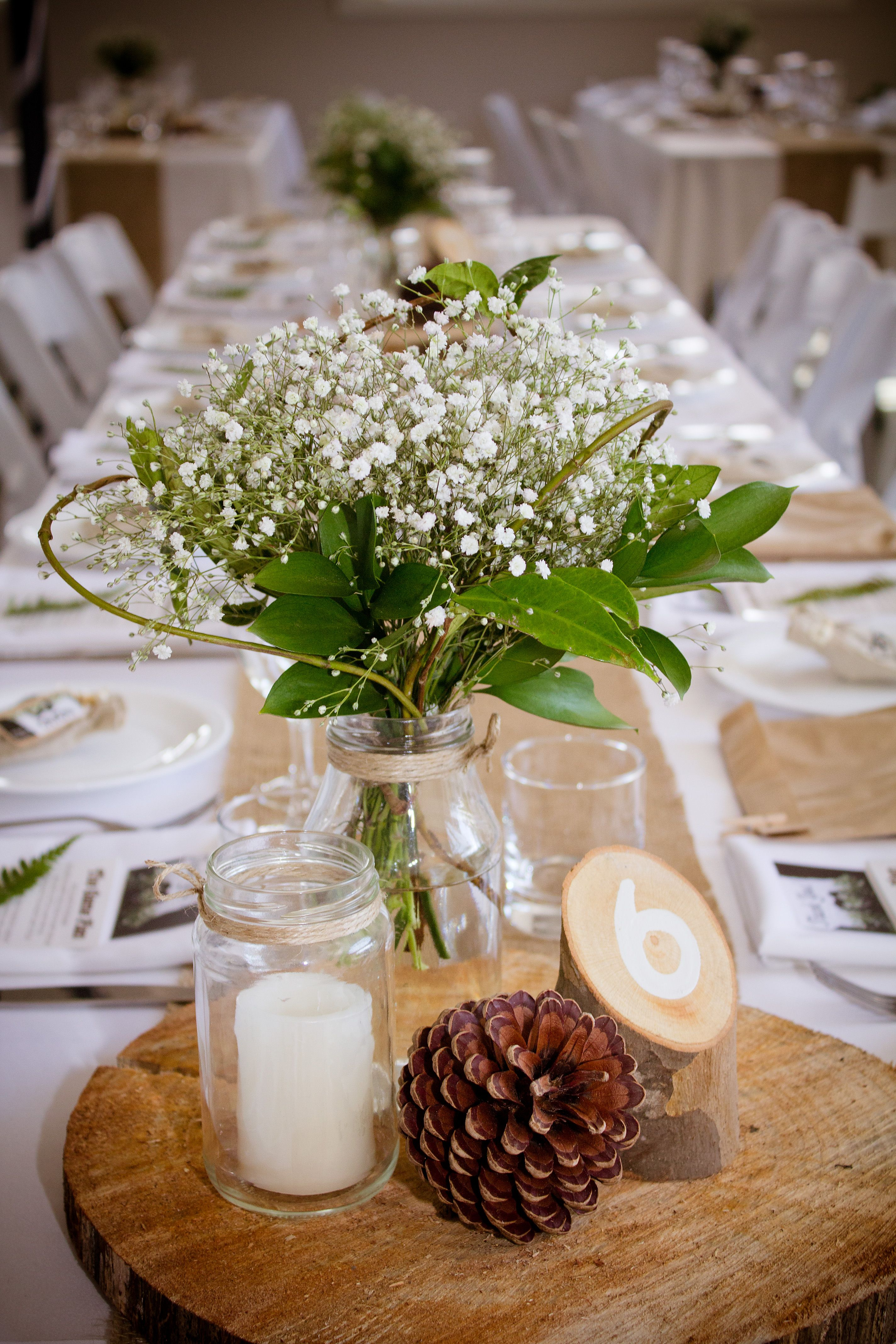 Our Simple Rustic Table Setting Reception Simple Table Settings Wedding Table Settings Table Arrangements Wedding