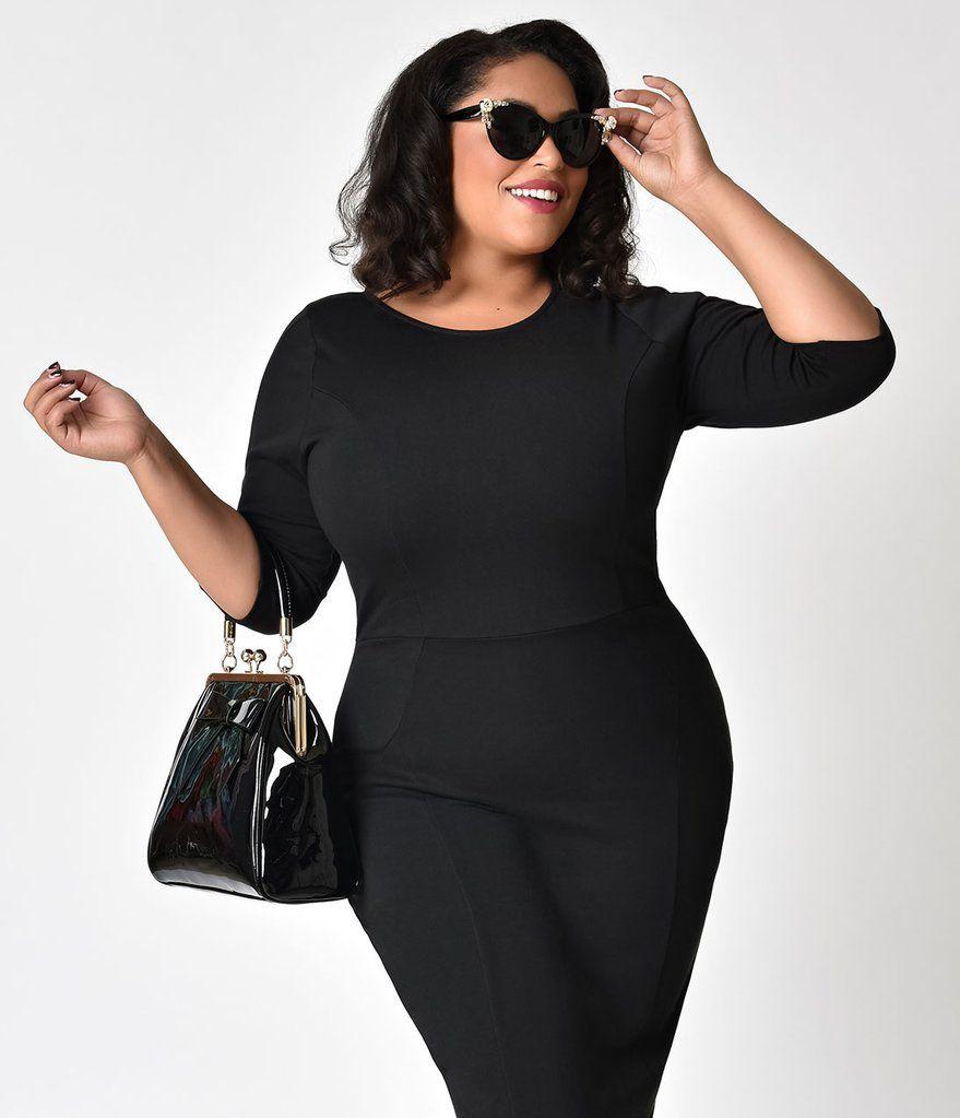0d191b694b Unique Vintage Plus Size 1960s Style Black Long Sleeve Mod Wiggle Dress