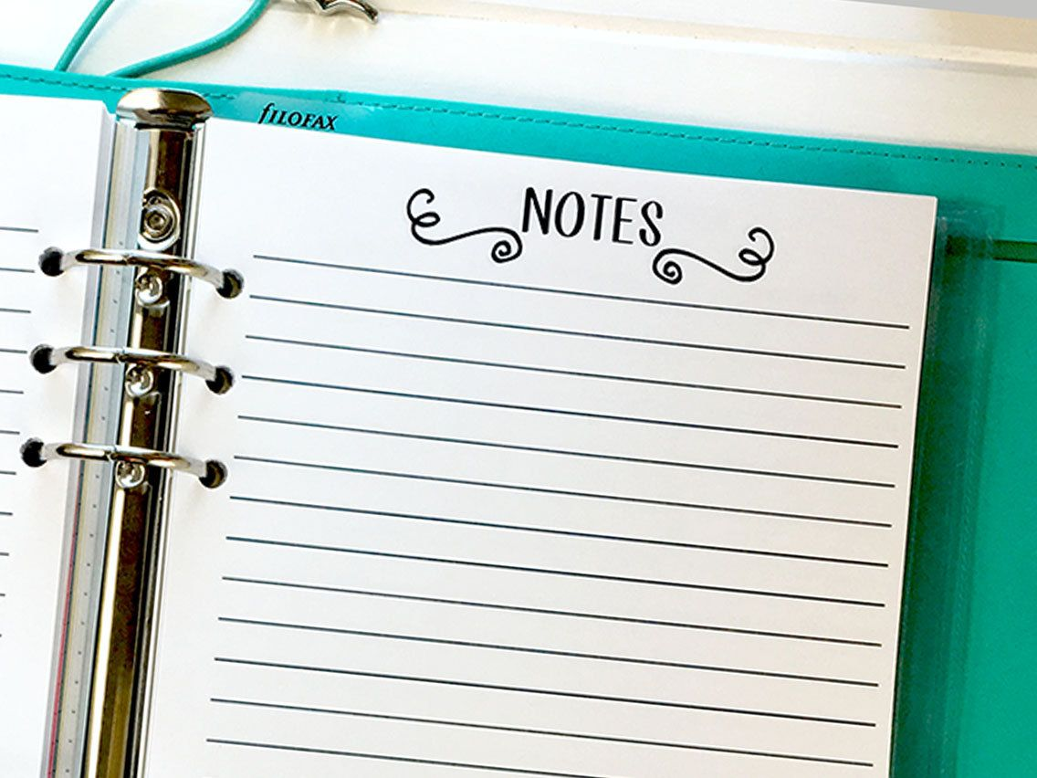 Pocket size Notes Planner insert fits six-ring binders 15 Double-Sided sheets
