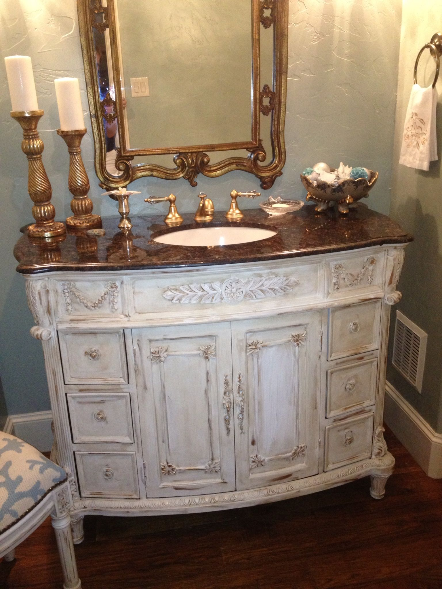 Chalk Paint Bathroom Cabinets Part - 25: Annie Sloan Chalk Paint! Love Having My Dark Wood Vanity Updated.