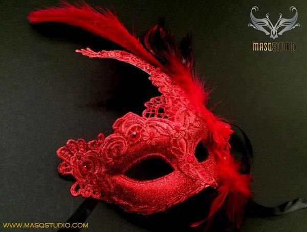 Venetian style Brocade Red Lace Masquerade Ball Mask – Masquerade Mask Studio