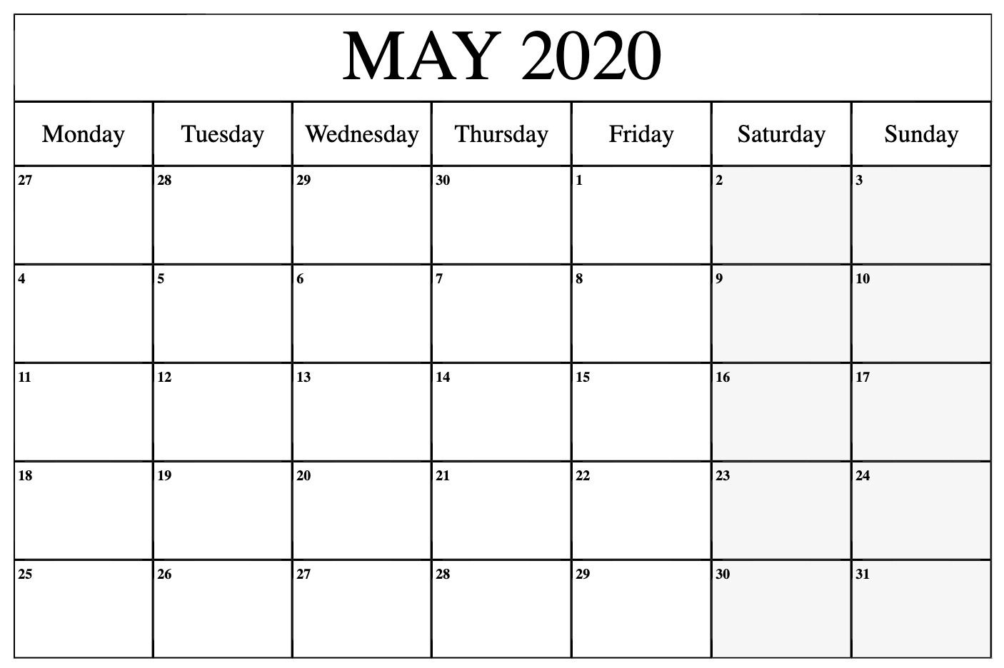 May Calendar 2020 Free Printable Template Pdf Word Excel With