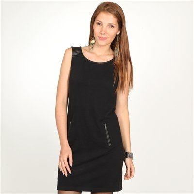 Vestido negro de dos tejidos