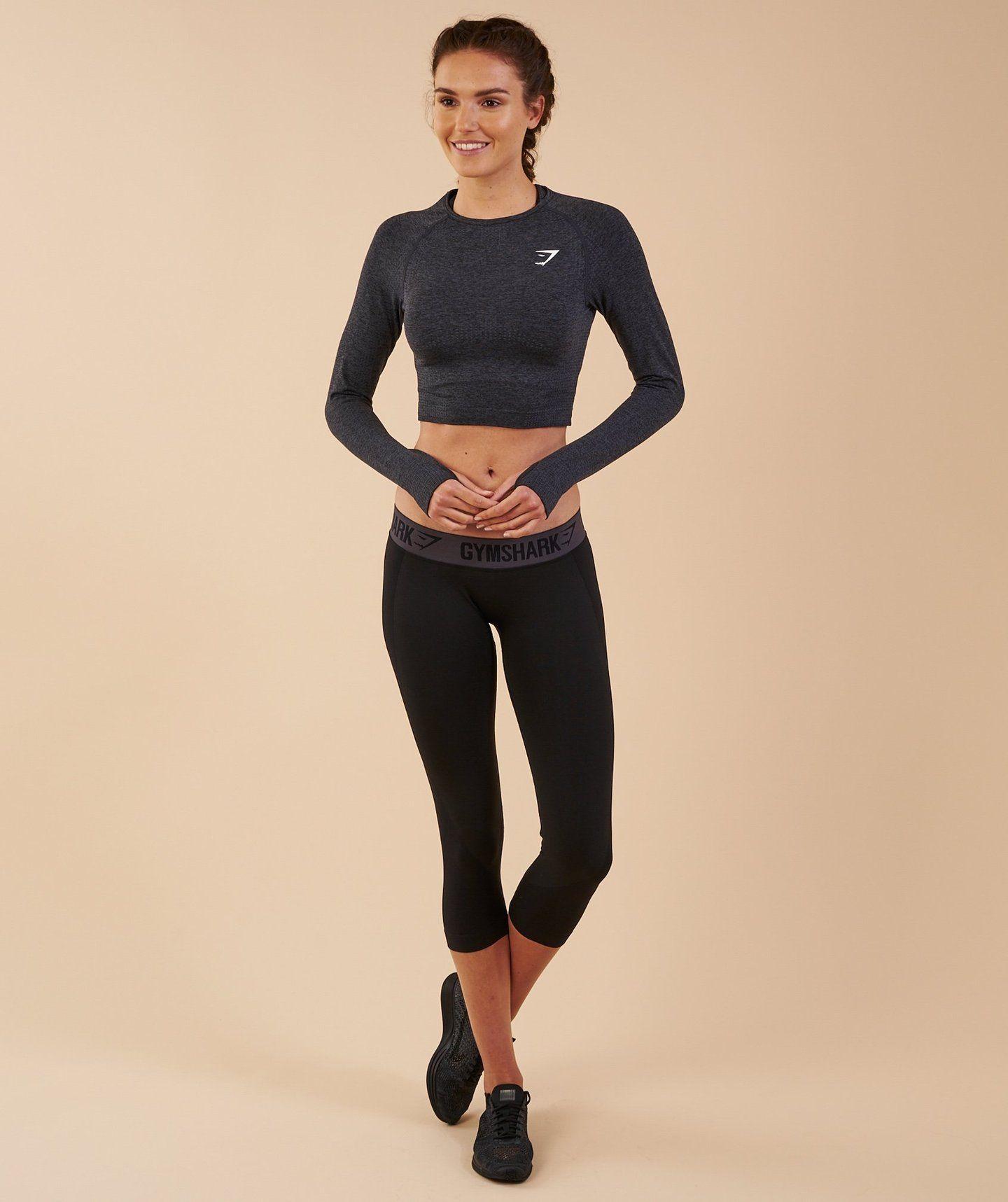 Gymshark Vital Seamless Long Sleeve Crop Top Black Marl 3 Get