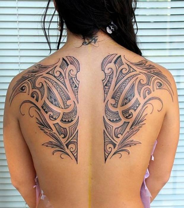 Tatouage Tahitien Symetrique Dans Le Dos Tattoosonback Tattoos On