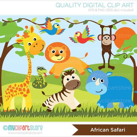 Safari animals clipart jungle giraffe snake parrots for Classic jungle house for small animals