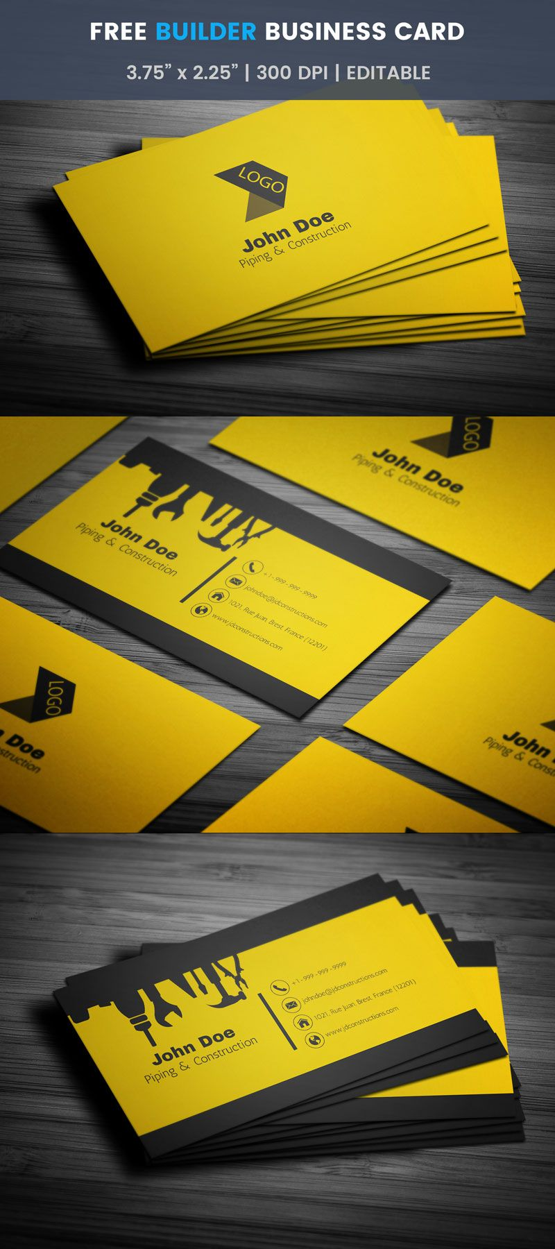 Free Cool Construction Business Card