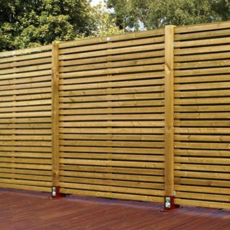 B Q Green Contemporary Timber Fence Panel W 1 83m H 1 8m Pack