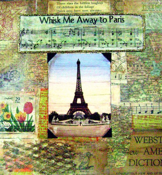 Paris Print of original Mixed Media Collage