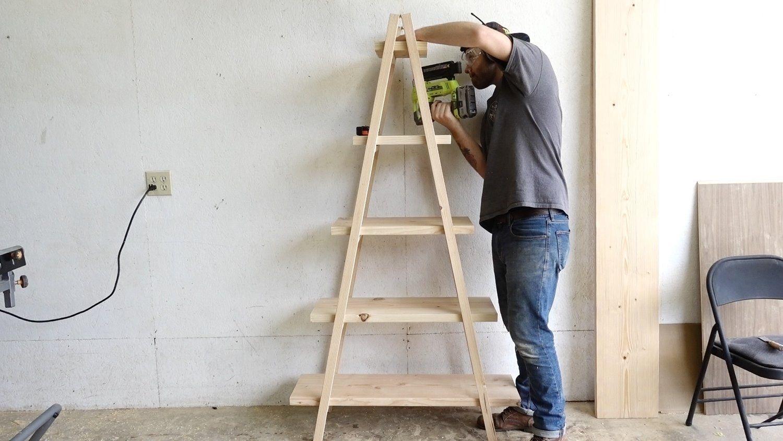 Diy A Frame Ladder Bookshelf Modern Builds Ladder Bookshelf A Frame Ladder Bookshelves Diy