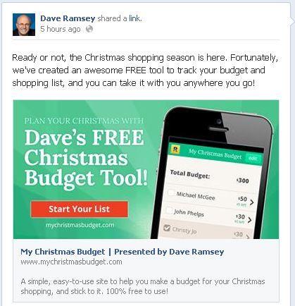 Dave Ramsey Christmas Budget Application   Live like no one else