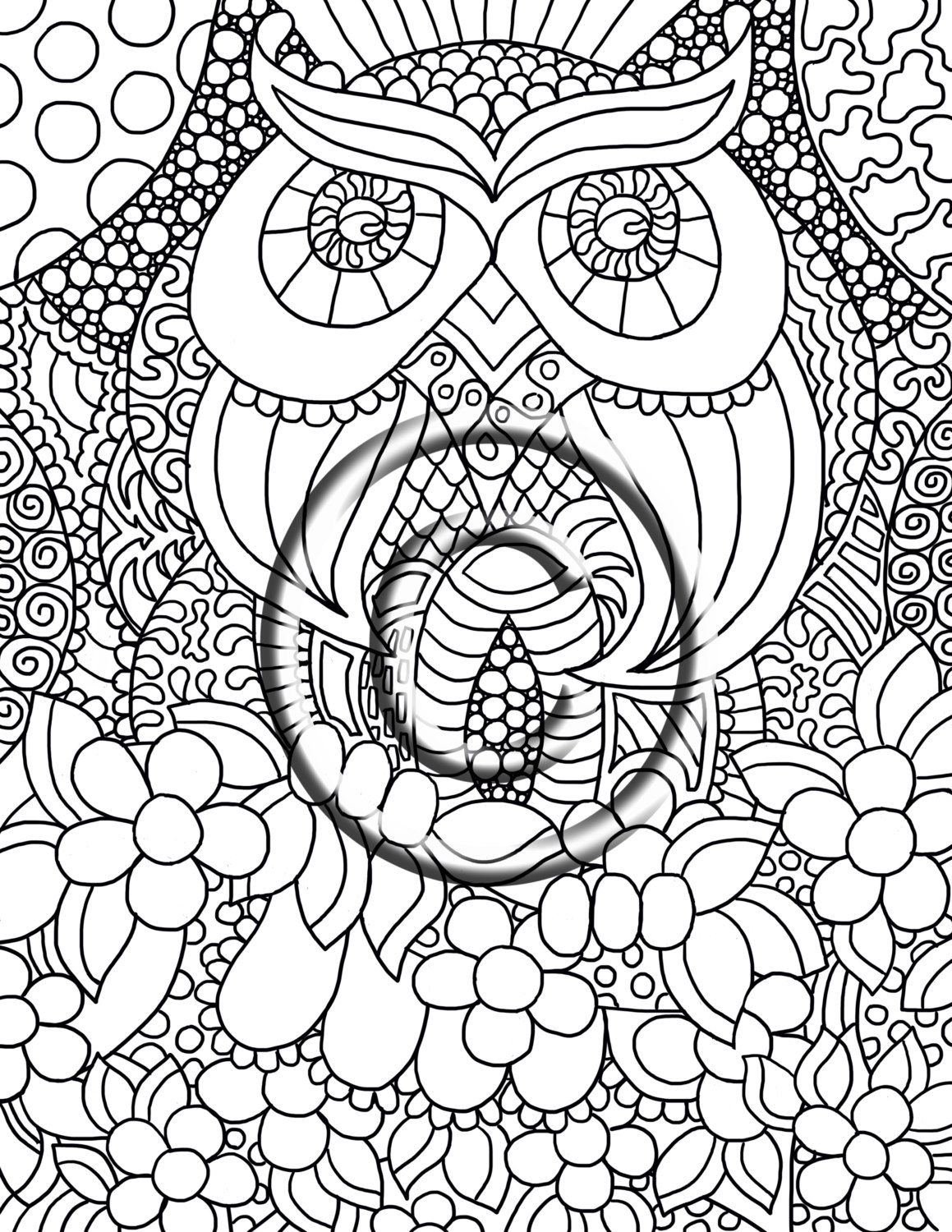 Digital Download Coloring Page Hand Drawn Zentangle Inspired \
