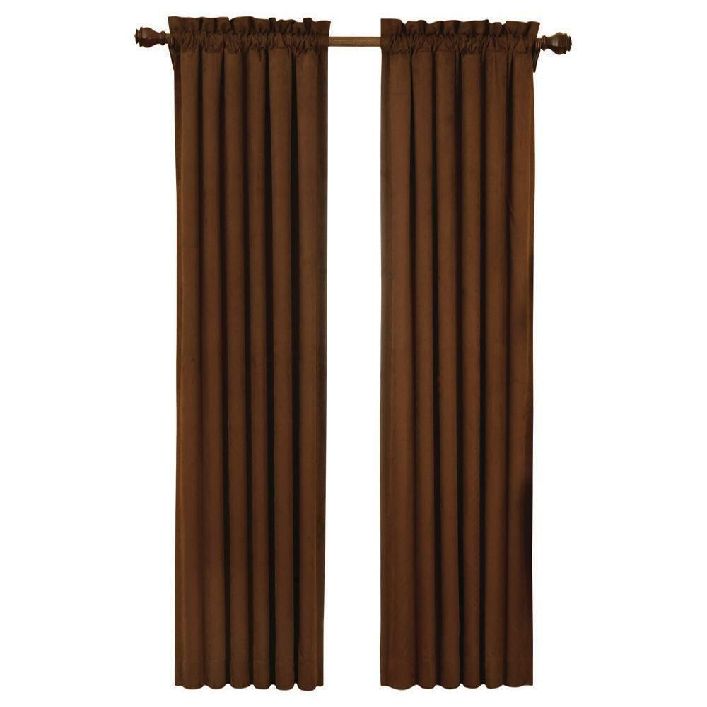 Eclipse Suede Blackout Chocolate Brown Curtain Panel 63 In