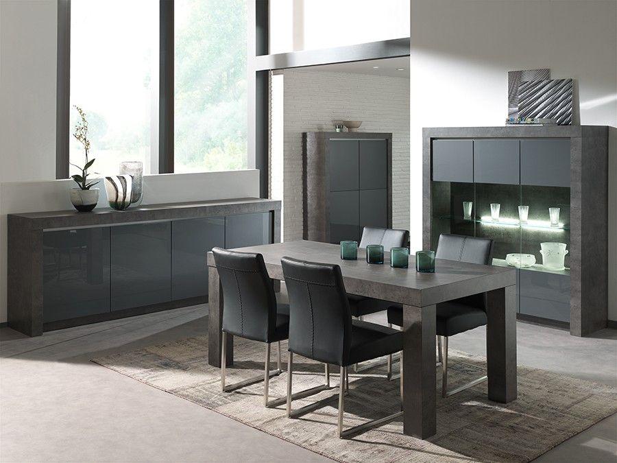 Salle à manger complète gris laqué moderne MURILO Salle à manger - Magasin De Meubles Plan De Campagne