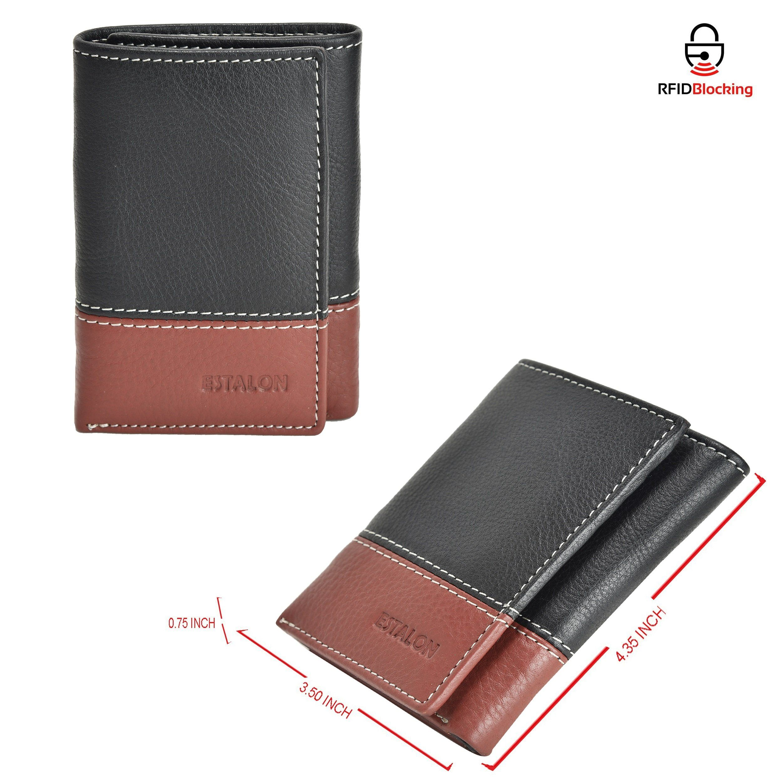 Tommy Hilfiger Men/'s RFID Block Wallet Leather Trifold Cards ID Window Brown