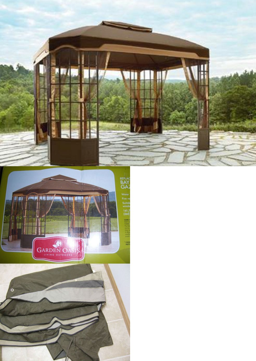Gazebos 180995 Garden Oasis Bay Window Gazebo Replacement Canopy 12 X 10 Sears Kmart Limited & Gazebos 180995: Garden Oasis Bay Window Gazebo Replacement Canopy ...