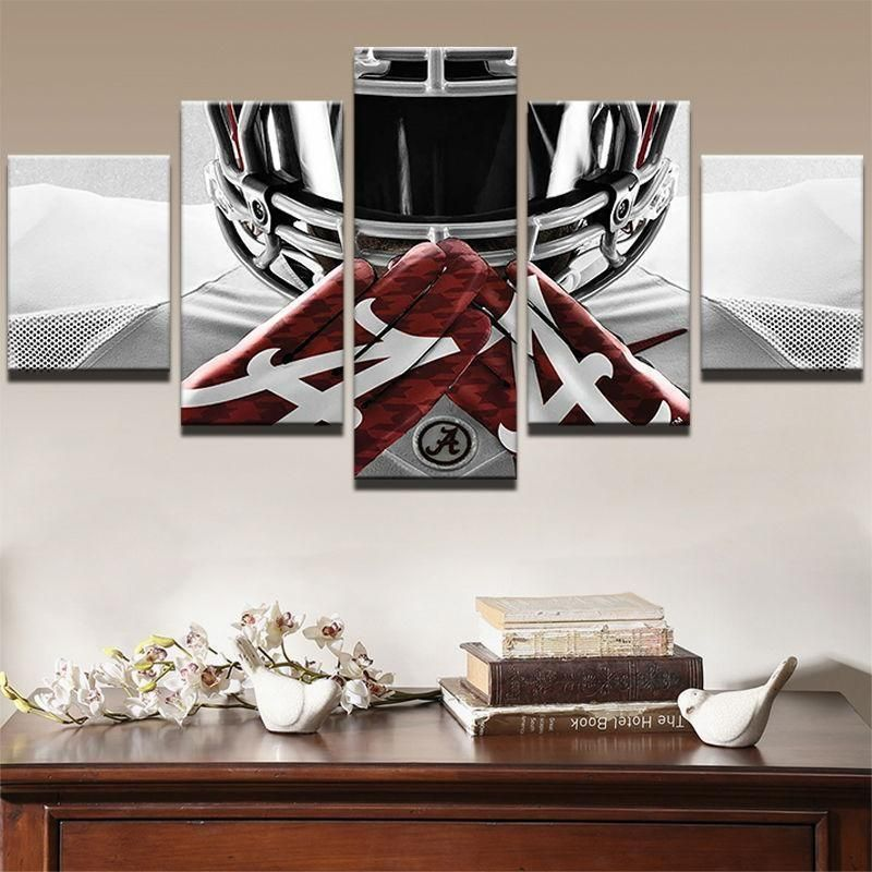 Frame 5 Panels Alabama Crimson Tide Player Rugby Painting Printed Canvas Wall Ar Posters Prints Canvas Wall Decor Wall Canvas Wall Art Canvas Painting