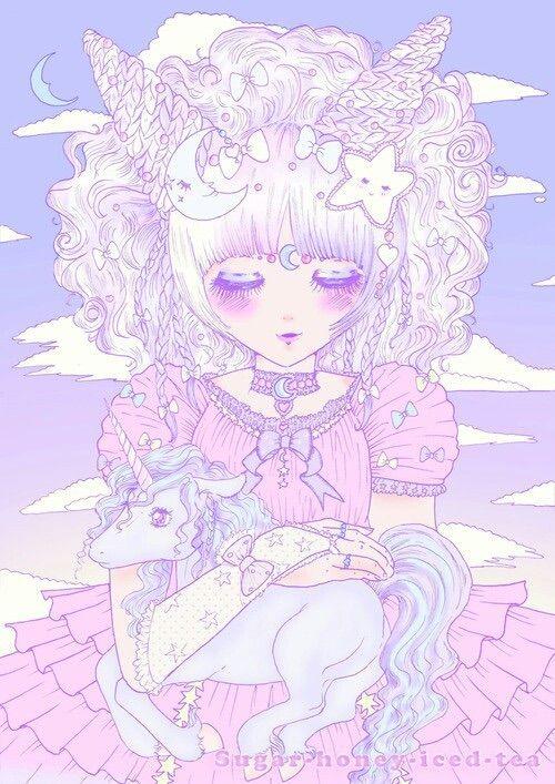 Kawaii Pastel Unicorn Illustration Anime Drawings