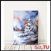 ORIGINAL Watercolor Painting, Winter Landscape, Snowy Nature Painting,… (3 080…,  #landsc…