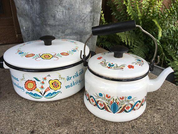 Vintage Scandinavian White Enamel Teapot And Stockpot Berggren Enamel Teapot Vintage Cookware White Enamel