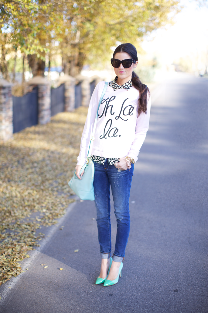 Love this blouse jew sweater zoe karssen bottoms jew make the transition from chilly mornings to warm spring days by layering a collared shirt under a cute graphic sweatshirt fun heels update the look publicscrutiny Image collections